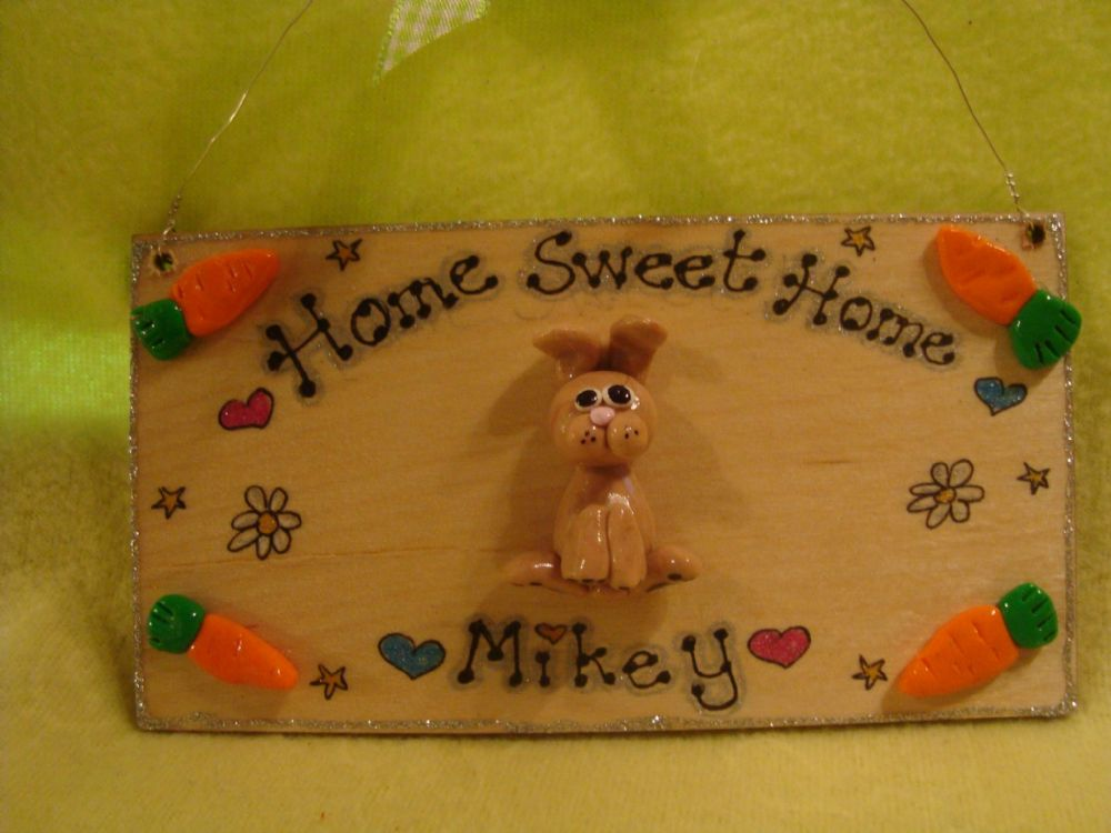3d Bunny Rabbit Hutch Run Room Home Sweet Home  House Cage Personalised Plaque Sign Any Colour Pet